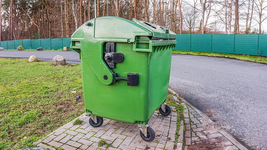 Green skip bin for waste